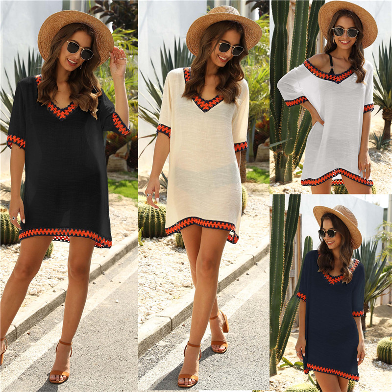 Short Sleeve Beach Dress V-neck Cover Up Ladies White Beachwear 2020 Summer Chiffon Cover-ups For Women Beige Black Tunic Ups