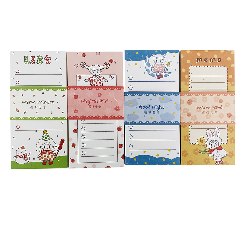 60 Pages/Pack Cute Magic Girl Warm Winter Good Night Warn Band Memo Pad School Office Supply Student Stationery Kids Gift