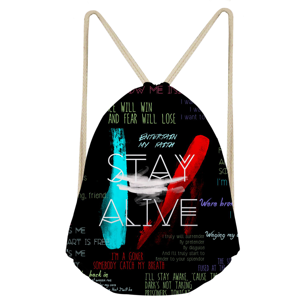THIKIN Twenty One Pilots Drawstring Bag Women Mini Daily Pouch Polyester Beach Shoulder Bags With Stay Alive Graffiti Fans Print