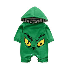 Baby Green Rompers Clothes Cartoon Monster Eyes Print One Piece Hooded Jumpsuits Long Sleeve Infants Boy Girl Autumn Winter New