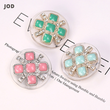 28mm Vintage Transparent Buttons for Women's Clothing Coat Suit Round Metal Rhinestone Decorative Button Fashion Sweater Big JOD high grade metal gold silver imitation pearl buttons jacket shirt metal buttons sweater coat overcoat button