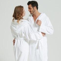 Albornoz de toalla de algodón de invierno de alta calidad para hombres, mujeres, vestido de abrigo, bata blanca larga para mujeres, pareja de tejones