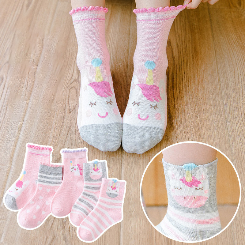 Cute Cartoon Baby Boy Socks Winter Thicken Cotton Toddler Girl Socks Soft Animal Print Children Socks 5 Pairs/lot Infant Socks 5