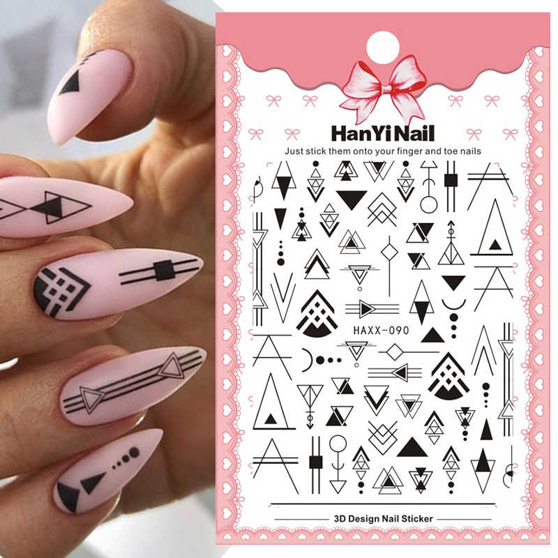3D Nail Stickers Mixed Bloemen Geometrische Nail Art Adhensive Transfer Decals Bloemen Tatoeages Sliders Manicuring Decoratie Tip
