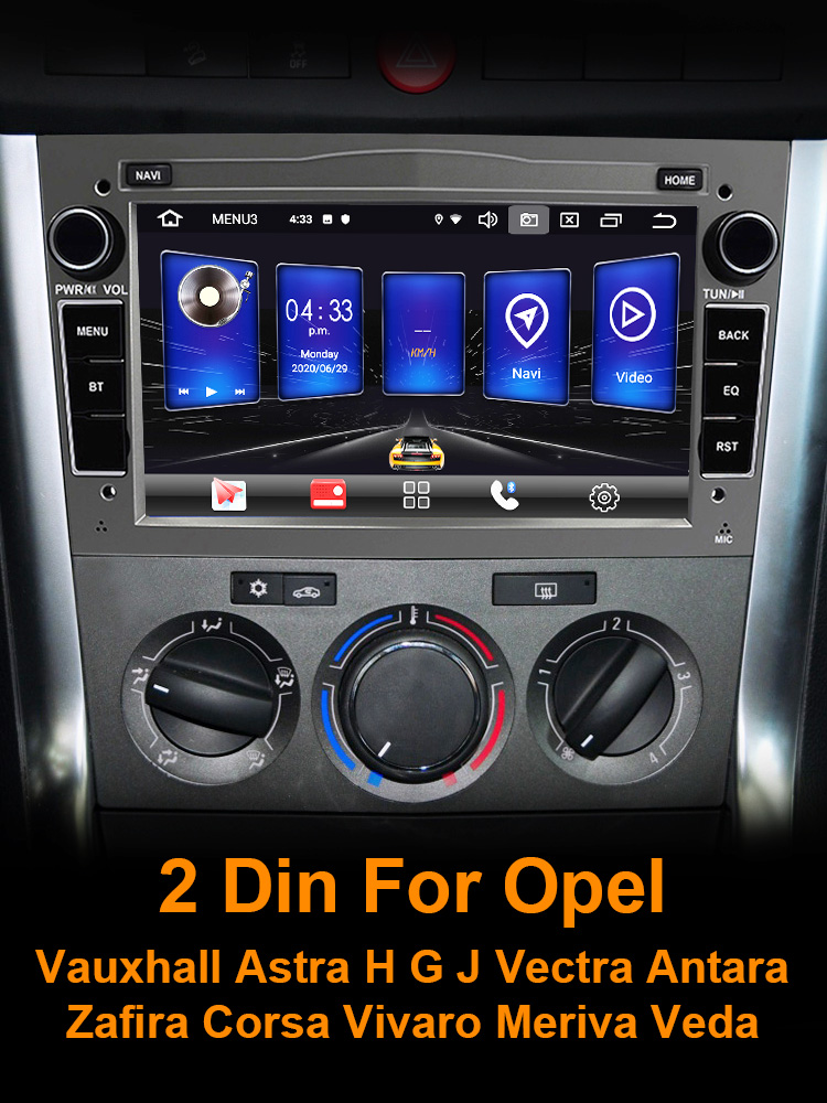 Eunavi Android 10 Car Radio GPS Audio 2 Din Stereo for Opel Vauxhall Astra H G J Vectra