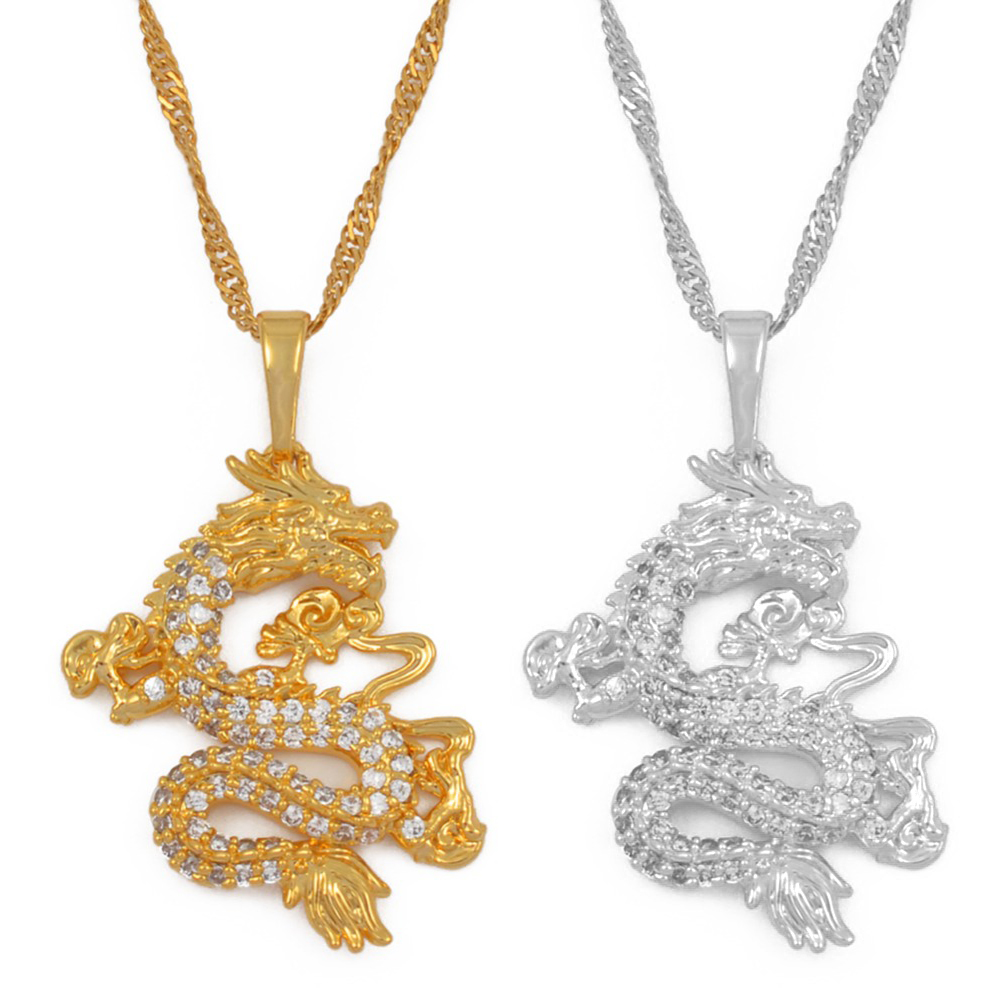 Anniyo CZ Dragon Pendant Necklaces for Women Men Gold Color Jewellery Cubic Zirconia Mascot Ornaments Lucky Symbol Gifts #064004(China)