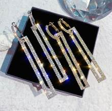 Modus Lange Geometrische Ohrringe Luxus Gold Silber Farbe Rechteck Strass Ohrring für Frauen Partei Schmuck Geschenk