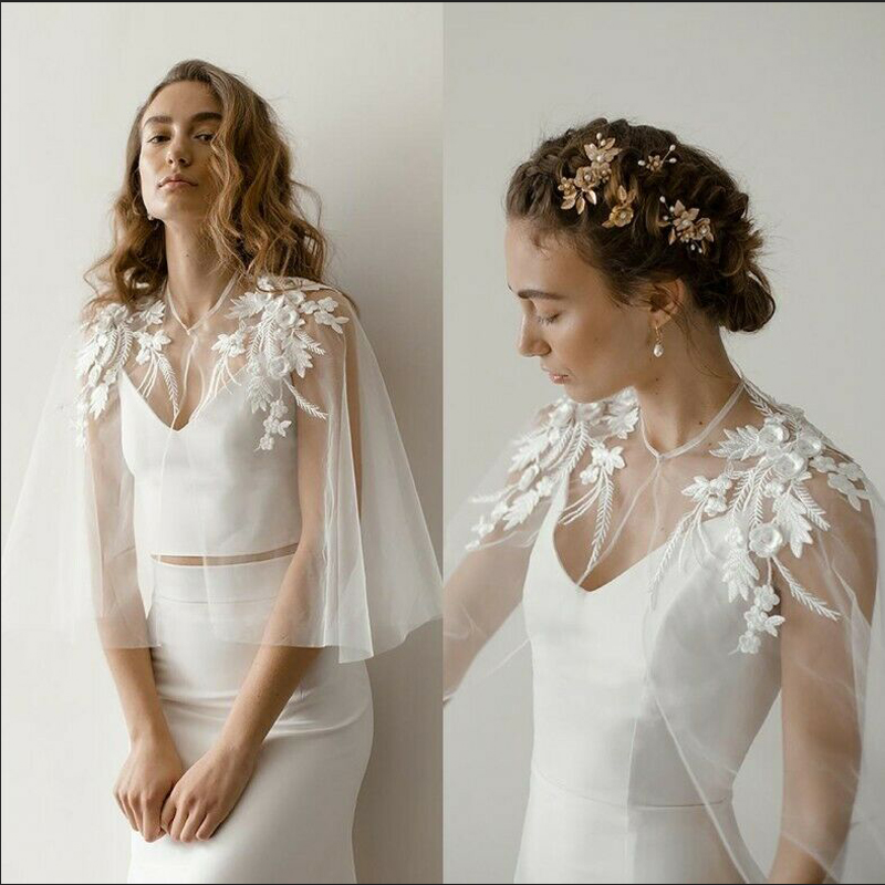 Soft Tulle Wedding Cape Shoulder Appliques Bridal Bolero Jacket Lace Women Formal Wear Wrap