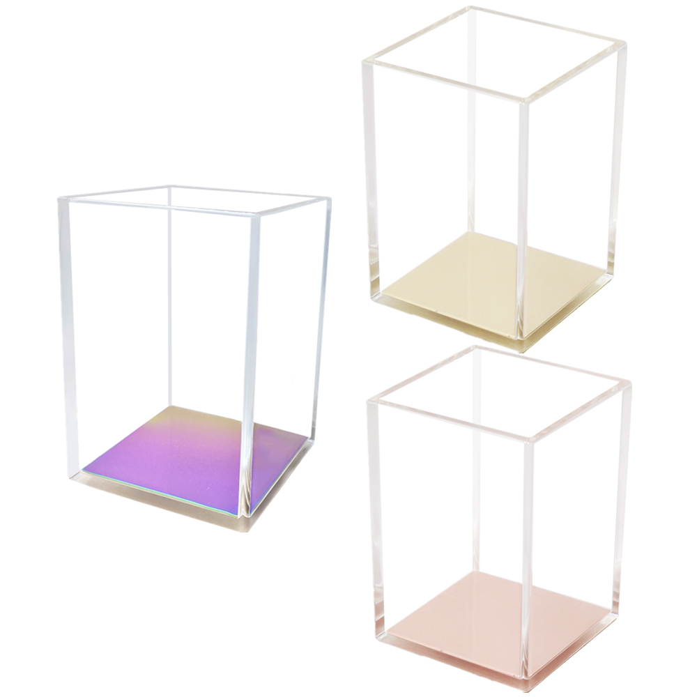 Acrylic Transparency Desk Organizer Pen Pencil Holders Office Pencil Organizers for Desk Storage Box Pen Container Rose Gold Cup Stationery