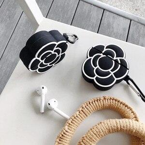 Image 3 - Funda protectora de silicona para auriculares para Apple Airpods 1 y 2, funda de lujo clásica 3D con estampado de Camelia y flores para mujer a prueba de golpes