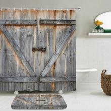 2Pcs/Set Retro Vintage Style Wooden Door 3D Printing Polyester Waterproof Shower Curtain Bathroom Curtain Anti-slip Mat Door