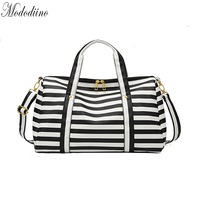 Mododiino Stripe Duffel Bag PU Leather Handbag Travelling Duffel Bag Portable Shoulder Bags Women's Fashion Carry On Bag DNV1297
