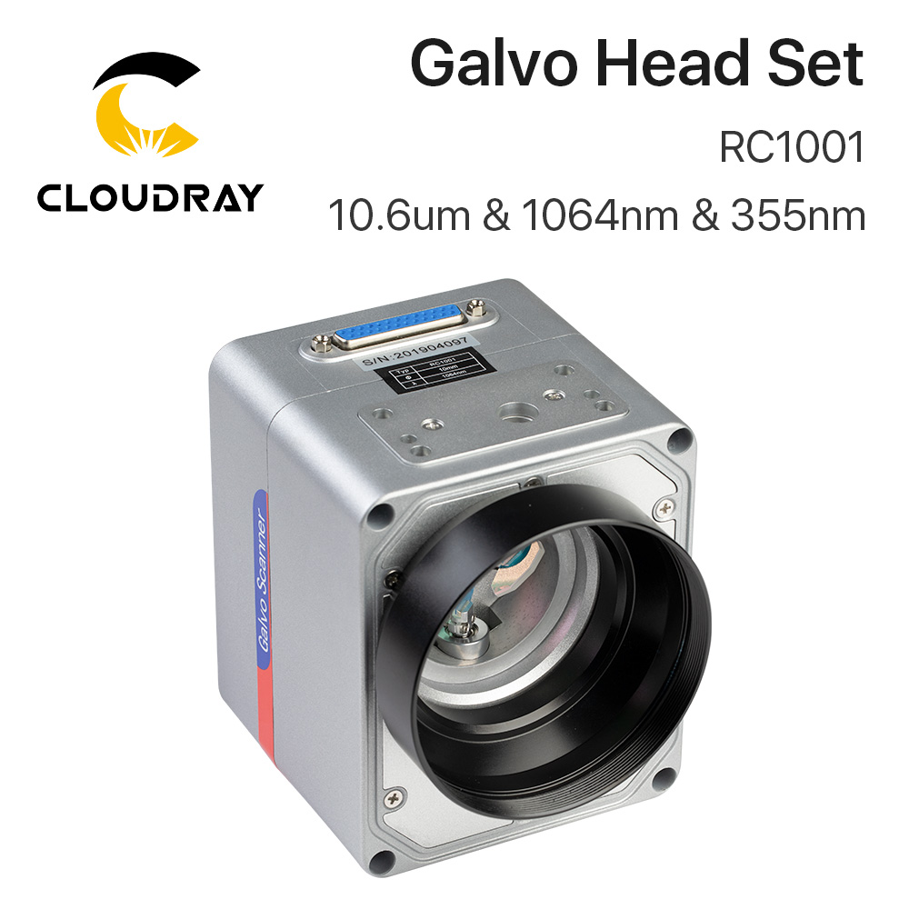 Cloudray RC1001 Fiber Laser Scanning Galvo Head Set 10.6um &1064nm & 355nm 10mm Galvanometer Scanner With Power Supply