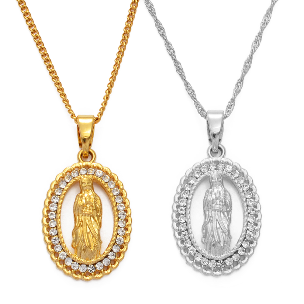Virgin Mary Pendant Necklace for Women Girls,Silver//Gold Color Jewelry Wholesale