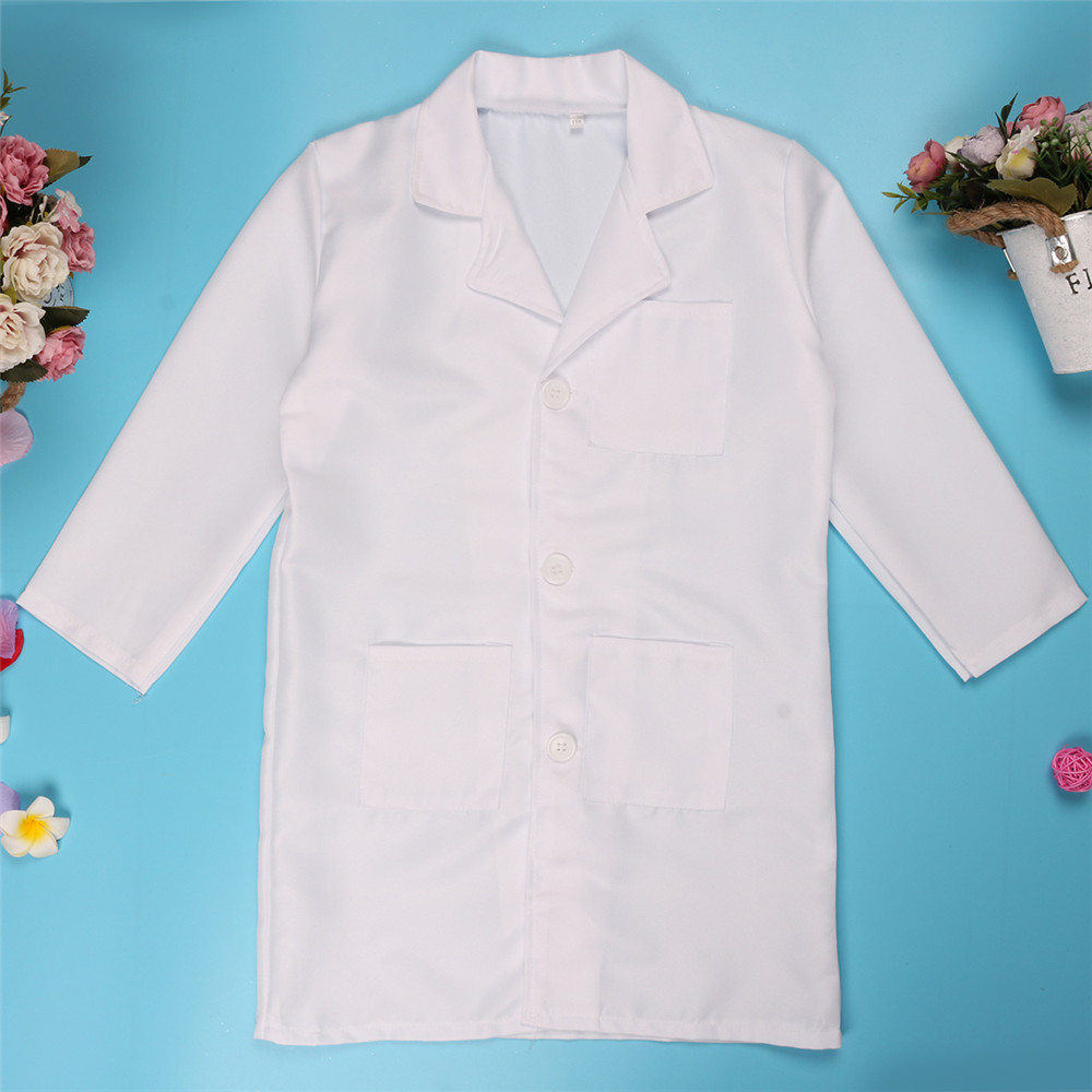 ChicTry Unisex Kids White Lapel Long Sleeves Nurse Uniform Lab Coat Girls Boys Halloween Roleplay Party Doctor Costume