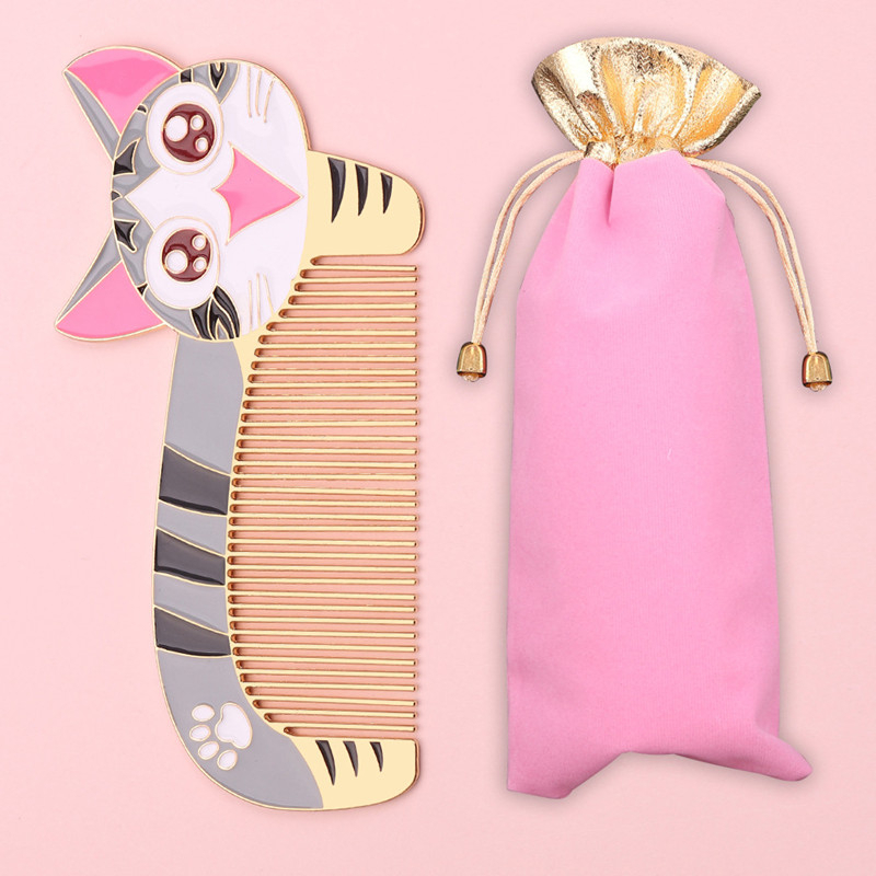 New Cute Stainless Steel Comb Mini Anti-static Small Pocket Portable Cartoon Cat Comb Hair Brush Combs Hair Styling Tools
