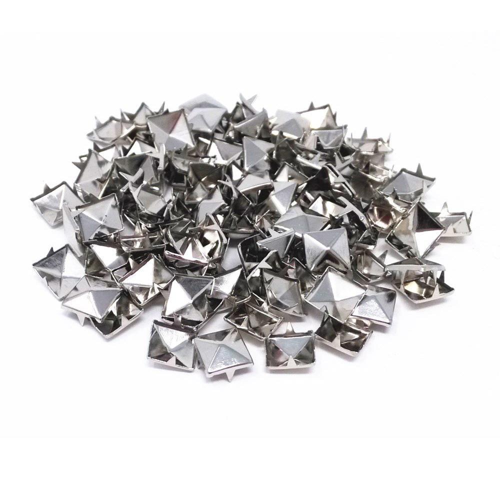 BRICOLAGE 100 pièces de 10mm 4-griffe rivet carré pyramide/clou en métal conique rivet vêtements/Chaussures/sacs/Cuir clous sur punk