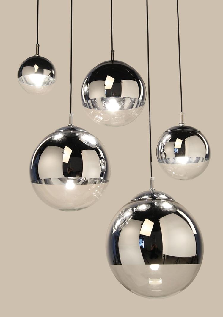 Image 5 - LukLoy Modern Mirror Glass Ball Pendant Light Copper Silver Gold Globe Loft Hanglamp Modern Lamp Kitchen Light Fixture-in Pendant Lights from Lights & Lighting