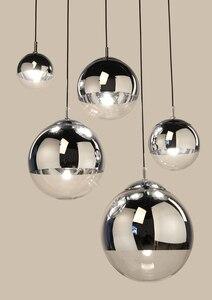 Image 5 - LukLoy مرآة الحديثة كرة زجاجية قلادة ضوء النحاس الفضة الذهب غلوب لوفت Hanglamp لمبة عصرية ضوء مطبخ تركيبات