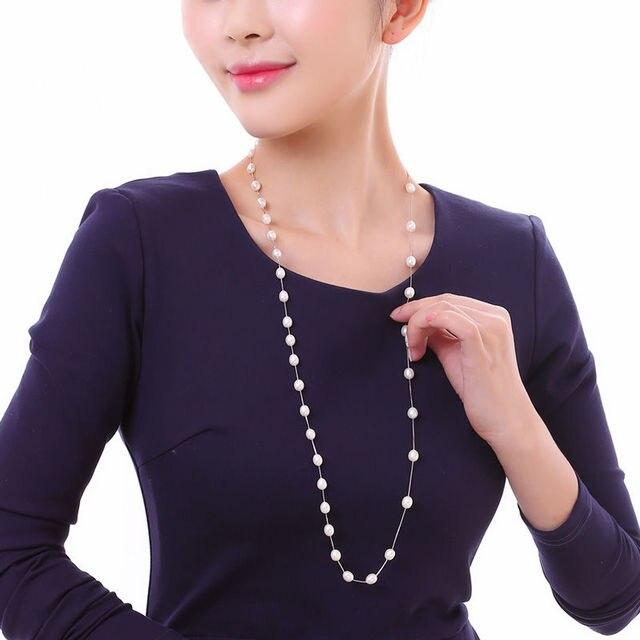 DMCNFP007 7 8 мм длинное жемчужное ожерелье из стерлингового серебра 925 пробы цепочка для свитера ожерелье для женщин