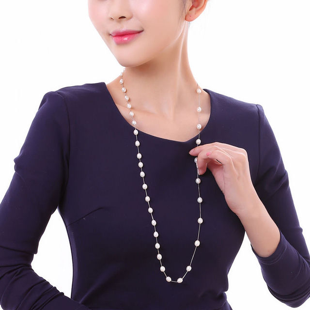DMCNFP007 7 8mm Long Pearl Necklace 925 Sterling Silver Sweater Chain Necklace For Women