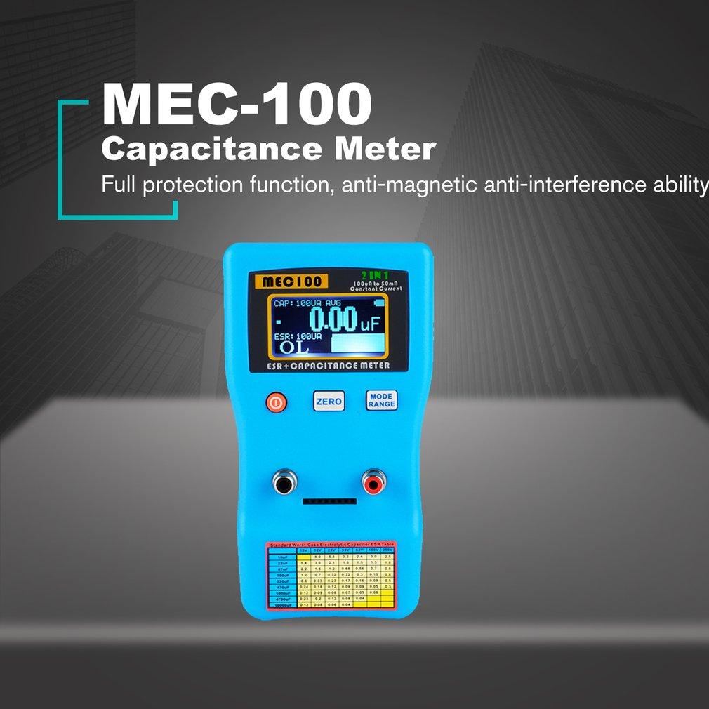 MEC-100 Digital Display Capacitor Meter High Precision Autoranging Electrolytic Capacitance Resistance Meter ESR Tester