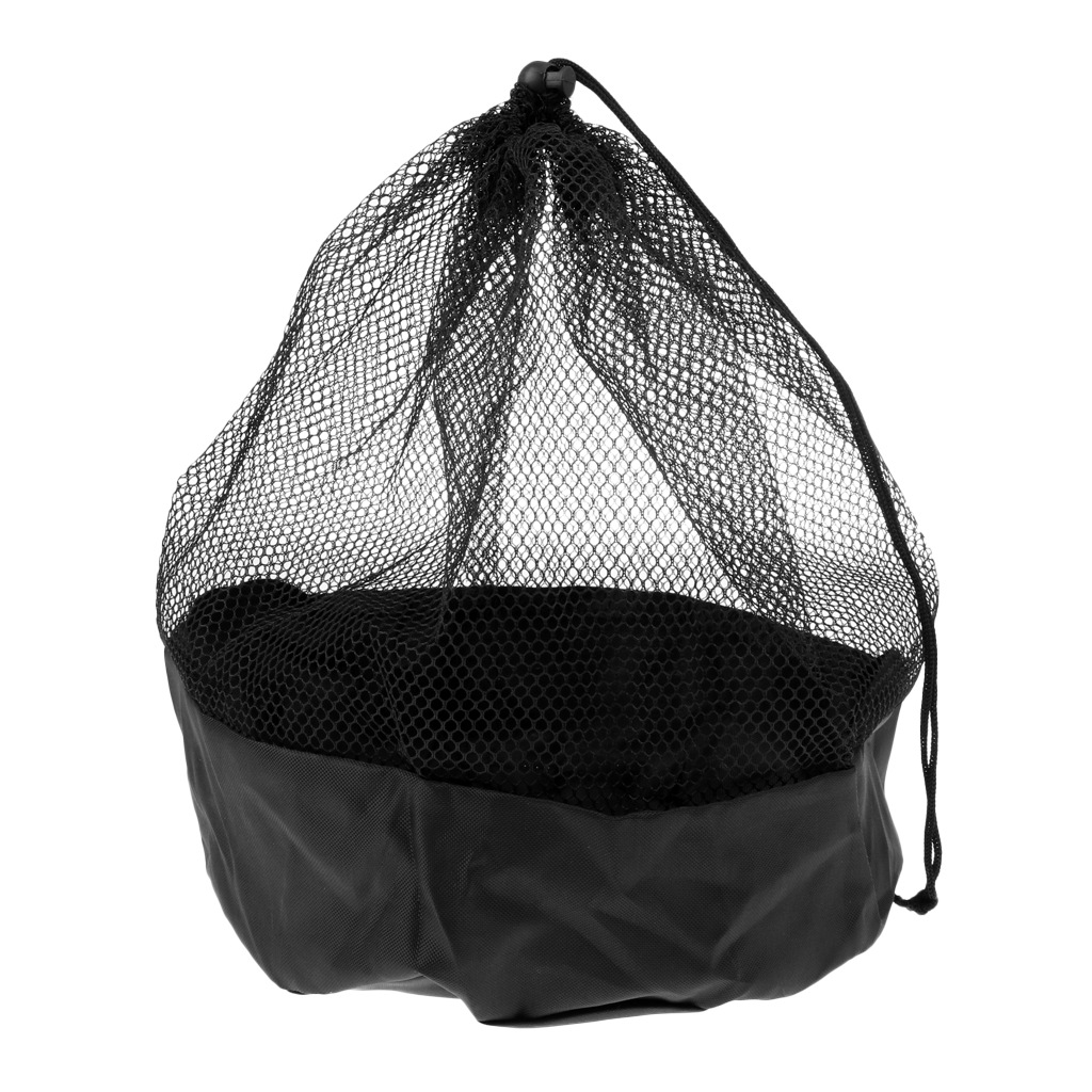Soccer Field Marker Cone Mesh Pouch Drawstring Carry Bag With End Lock Black