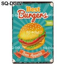 [SQ-DGLZ mejor hamburguesas cartel de Metal Vintage decoración de Bar Placa de letrero de estaño Vintage Pub Bar decoración de Metal Borden arte placa con Afiche