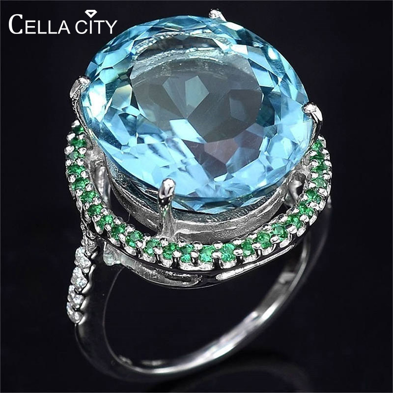 Cellacity Aquamarine Ring For Women Silver 925 Jewelry For Party Hyperbole Huge Oval Gemstones Size6,7,8,9,10 Banquet Party Gift