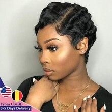 Beauhair wigs Hepburn Style Finger Wave Short Lace Human Hair Wigs For Women Brazilian Ocean Wave Non Remy Human Hair Lace Wigs