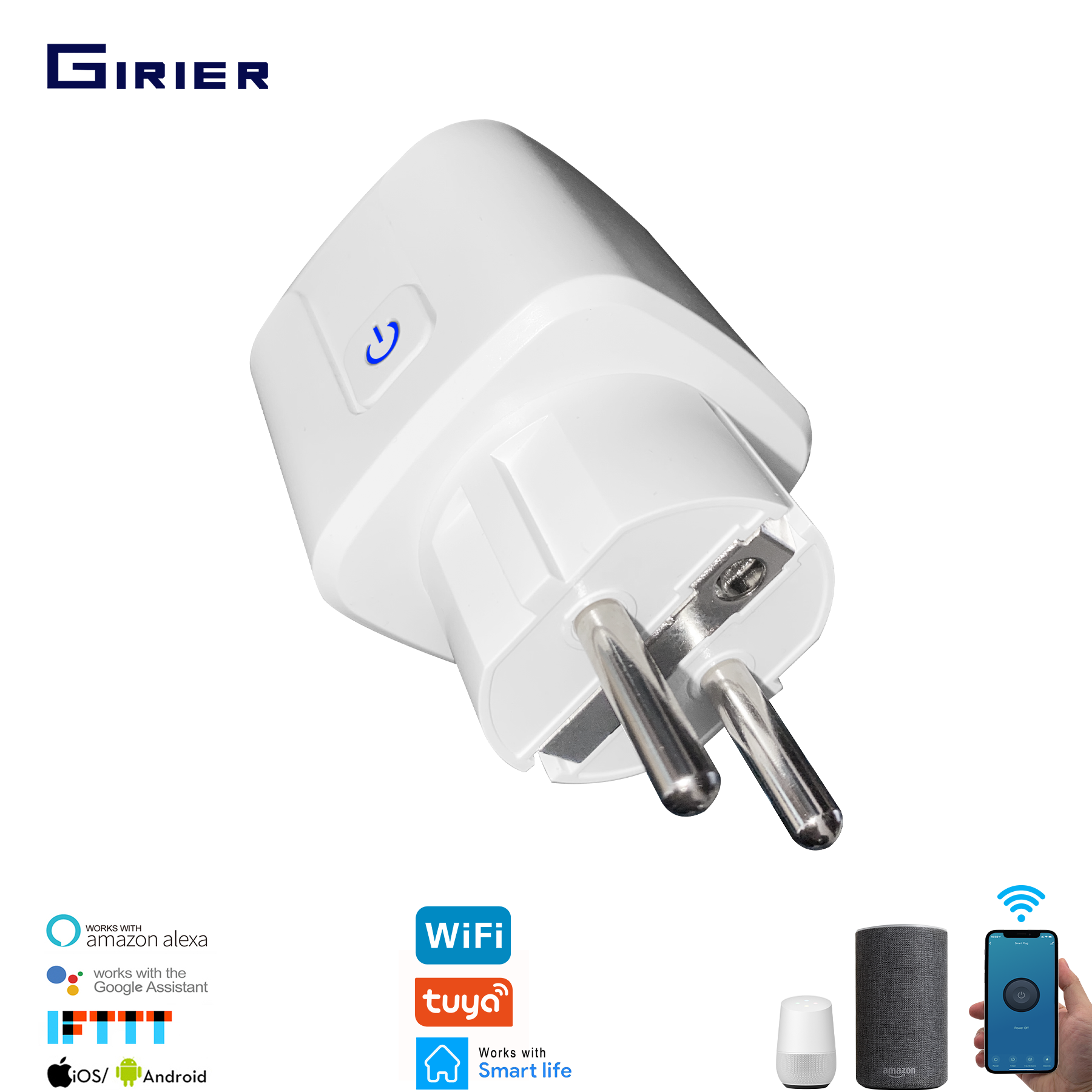 16A EU Smart Wifi Power Plug With Power Monitor, Smart Home Wifi Wireless Socket Outlet, Works With Alexa Google Home Tuya App