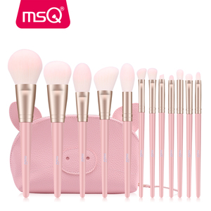 Image 2 - MSQ 12pcs MakeUp Brushes Set Powder Blush Eyeshadow pincel maquiagem Make up Brush Kits Cosmetic Tools With Pink PU Leather  Bag