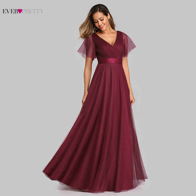 New Elegant Bridesmaid Dresses Long Ever Pretty A-Line V-Neck Short Sleeve Tulle Long Dress For Wedding Party For Woman 2020