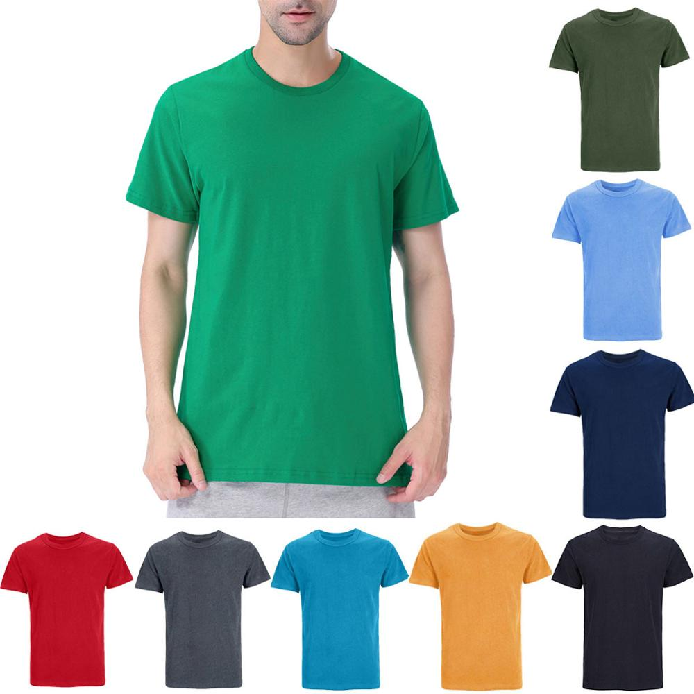 Mens Heavyweight Heavy Cotton Thick Plain Solid 190-260g Blank T-Shirts Casual Basic Soft Sport Tee Top Undershirt For Adult
