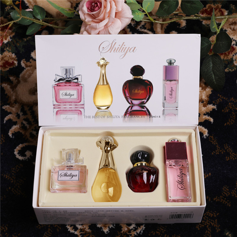 4pcs/set Original Parfum For Women Ladies Smell Liquid Female Perfume Bottle Glass Fashion Flower Fragrance WP06
