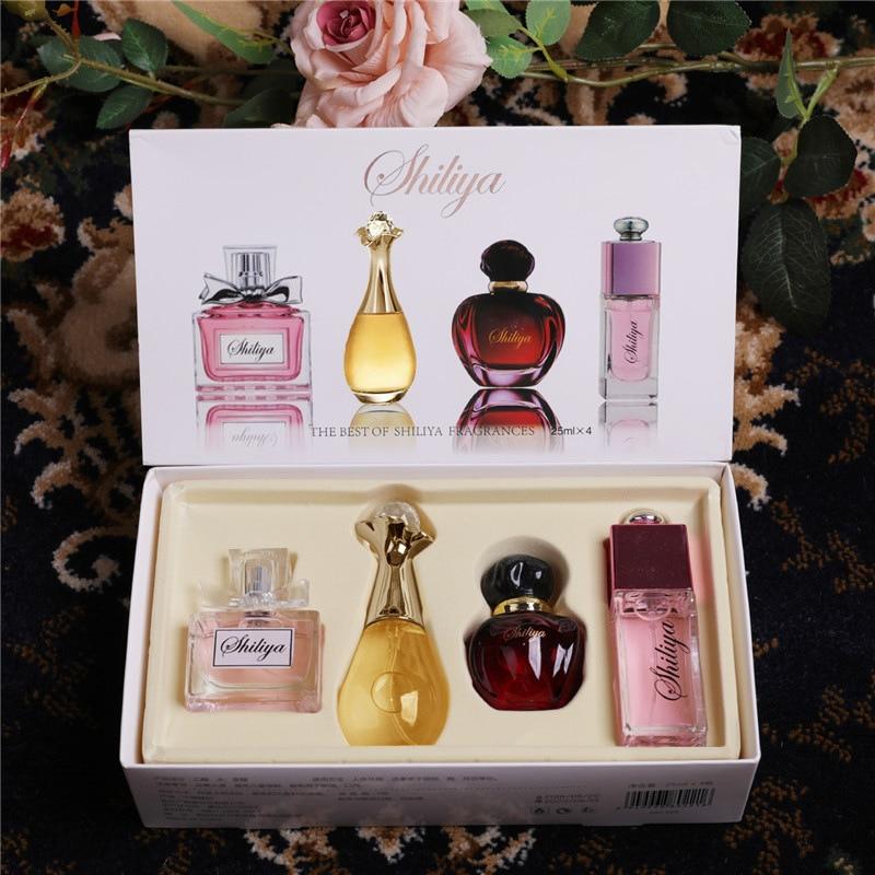 4pcs/set Original Parfum For Women Ladies Smell Liquid Female Perfume Bottle Glass Fashion Flower Fragrance WP06