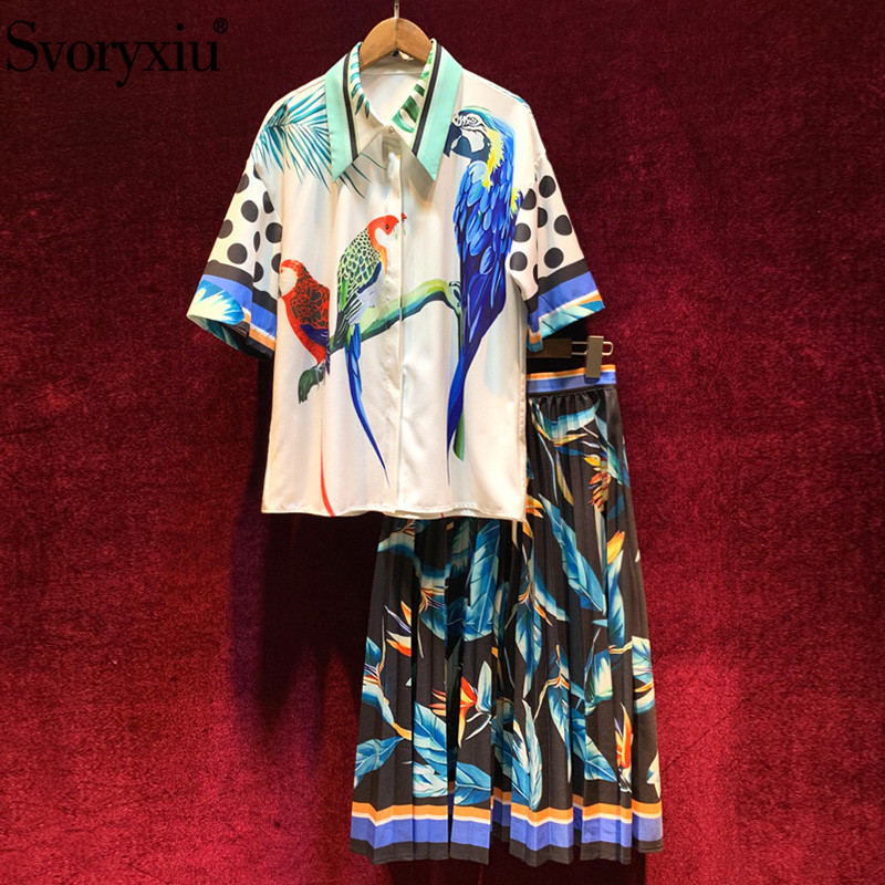 Svoryxiu 2020 New Spring Summer Runway Skirt Suit Women's Fashion Half Sleeve Parrot Print Blouse + Pleated Skirt Two Piece Set