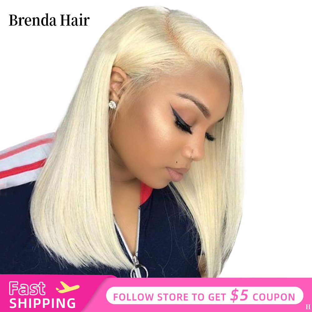 13x6 Blonde Brazilian Straight Human Hair Bob Wigs 613 150% Density Remy Short Ombre Bob Lace Front Wigs For Black Women
