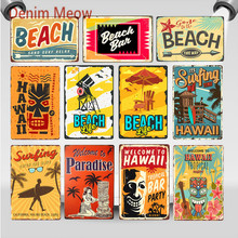Vintage Beach Bar Surfing Time Metal Sign Hawaii Summer Aloha Wall Stickers Life Is Good At Art Painting Home Decor WY83