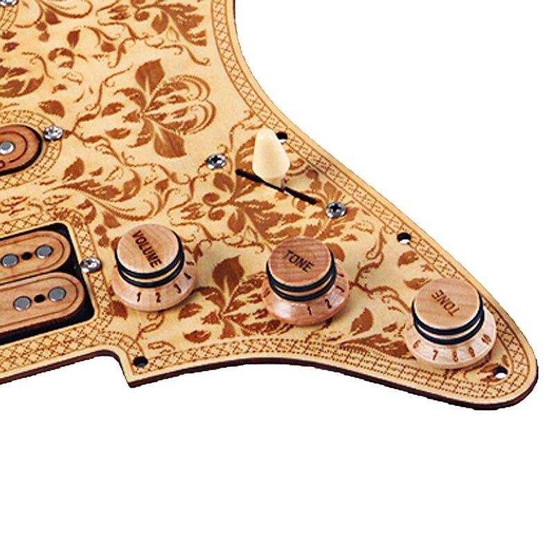 Prewired carregado ssh maple madeira guitarra pickguard alnico v captadores para st guitarra - 5