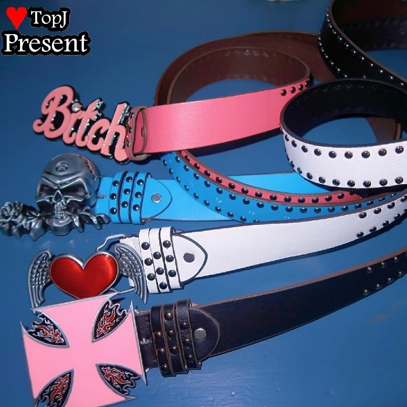 Women Sweet Lolita Cosplay Candy Color Y2K Tuku spice girls Gothic Lolita Punk Studded skull Belt  heart belt bungee equipment