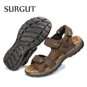Image 4 - SURGUT 2021 nouveaux hommes sandales dété loisirs en plein air plage hommes chaussures décontractées de haute qualité en cuir véritable sandales hommes sandales