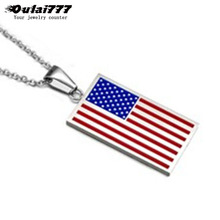 Oulai777 2019 Stainless Steel Mens Necklaces Pendant Necklace Chain women Men Accessories British American Israel Flag