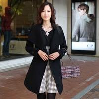 Store Brand Wool Coat Large Size Dress Korean style of Belt Overcoat Slim Fit Mid length
