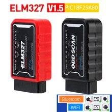 OBDII Diagnostic Tool ELM327 WiFi/Bluetooth V1.5 PIC18F25K80 Chip For Android/IOS ELM 327 V 1.5 ICAR2 OBDSCAN Smart Scan Tool