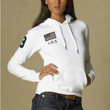Free shipping!2020 New Brand big Horse Solid Women's polo 100% cotton autumn winter casual with national flag Polo Sweatshirts(China)