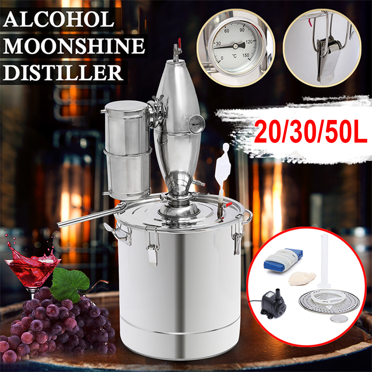 20/30/50L Household Moonshine Distiller Boiler Cooler Stainless Steel Copper Ethanol Alcohol Water Wine Essential Oil Brewing