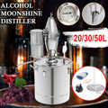 20/30/50L Household Moonshine Distiller Boiler Cooler Stainless Steel Copper Ethanol Alcohol Water Wine Essential Oil Brewing