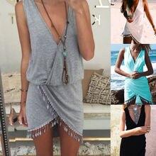 Сексуальное женское бикини с глубоким v-образным вырезом, Пляжное Платье с кисточкой, пляжная одежда, купальники, однотонная туника, саронг, летнее платье