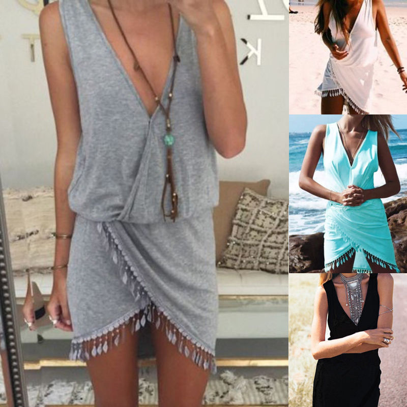 Sexy Bikini Cover Up Women Deep V-neck Beach Dress With Tassel Beachwear Swimwear Solid Tunic Sarong Summer Dress